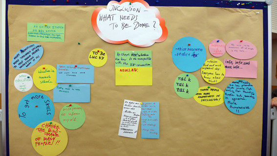 Photo of a brainstorming exercise at the coneference about inclusion