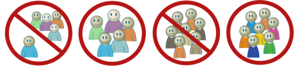 Graphical images showing stop signs. Pro inclusion and against poverty