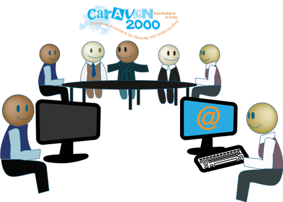 Graphical image showing people working together on the website